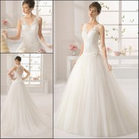 Wholesale Sweatheart Tulle Wedding Dress - Appique Sweet 2015 Lace Wedding Dresses Ivory Floor Length With Sweep Train Sweatheart Tulle Wedding Dress Hollow Covered Button Flower Sash