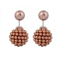 Wholesale double stud ring - Stud Earrings Fashion Jewelry Round Ear Rings aros women double pearl Pearl earrings jewelry Multi-Color ear cartilage statement Ear studs