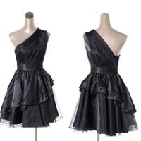 Wholesale Stretch Satin Halter Dress - 2015 Cocktail Dresses black Custom Made Stretch Satin Organza Mini Short One Shoulder Fold Backless A Line sexy mini dresses 5056