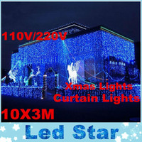 Wholesale background cool - RGB 10Mx3M Led Curtain Light Outdoor Christmas String Fairy Lights Wedding Backgrounds Party Ball Hotel Shows Decoration 220V 110V
