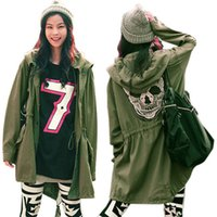 Wholesale Military Skull Jacket - Wholesale-New Women Outwear Military Parka Button Skull Back Hooded Jacket Coat