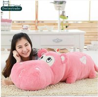 Wholesale Toy Hippo Gifts - Dorimytrader New 47''   120cm Super Lovely Giant Stuffed Soft Plush Large Cartoon Hippo Toy, 4 Colors and Nice Gift, Free Shipping DY60736