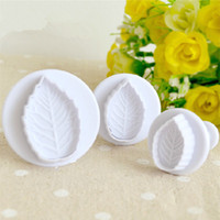 Wholesale Rose Leaf Cutter - 1 Set of 3pcs Rose Leaf Plunger Cutter Mold Fondant Cake Decorating Tools Sugarcraft Mould