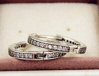 Wholesale European Hoops - 100% High-quality 925 Sterling Silver Signature with Clear CZ Hoop Earrings Fits European Pandora Jewelry Ring