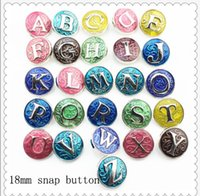 Wholesale Colorful Rhinestones - JACK88 Colorful 26pcs lot Initial A-Z Alphabet Snaps 18mm Letter Snap Button Jewelry for Ginger Snap Charm Bracelet Jewelry N838