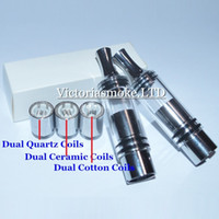 Wholesale Cheapest Dripping Atomizer - Cheapest Vaporizer Dry Herb Wax Atomizer with Dual Quartz Coils Dual Ceramic Cotton Coils Metal Drip Tip Straight Tube Glass Atomizer E Cigs