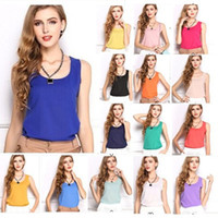 Wholesale Sleeveless Ladies Candy Color - Fashion Women Summer Vest Candy Color Cami Tank Tops Chiffon Sleeveless Vest Shirts Ladies Blouse Tops Plus Size Casual S-XXXL 2XL 3XL