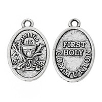 """Wholesale pc first - Charm Pendants Oval Antique Silver """"First Holy Communion"""" Carved 25.0mm x 16.0mm,50 PCs new jewelry findings making DIY"""
