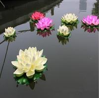ingrosso serbatoio di loto-29 CM Decorazioni di nozze Fiore di seta artificiale finto di loto per ornamenti natalizi Forniture di acquario per piscina