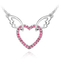 Wholesale Love Heart Necklace Wings - best-selling jewelry,angel wings heart-shaped ,silver pated jewelry crystal pendant necklace