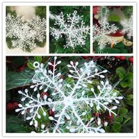 Wholesale Christmas Tree Snowflakes Decorations - New christmas tree snowflake ornaments White XMAS Christmas Snowflake Charms Decoration Ornaments Applique For Tree PS01A