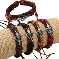 Wholesale Wholesale Arrowhead Charms - High Quality Mix Sale Bracelets DIY Fashion Arrowhead Pattern Charms Infinity Leather Bracelets Bangles For Men Jewelry