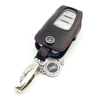 Wholesale Audi Key Cover Leather - Genuine Leather Car Key Fob Cover Key case for smart key Audi Q5 A8L A4L A4 A5 A7 A8 A6L 2012 free shipping