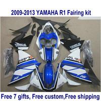 conjunto de carenagem branca yzf r1 venda por atacado-Kit de carenagem da motocicleta ABS para YAMAHA YZF-R1 2009-2011 2012 2013 preto azul branco YZF R1 carenagens conjunto 09-11 12 13 HA35
