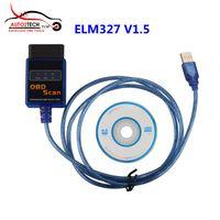 Wholesale Elm327 Obdii Usb Diagnostic Scanner - ELM327 Plastic OBDII EOBD CANBUS Scanner V1.5 with 2102 Chip ELM327 USB Diagnostic Scanner High Quality Free Shipping