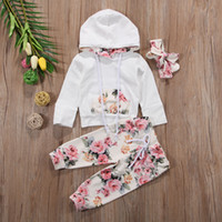 Wholesale 3pcs clothes online - New Baby Infant Girls Clothing Set Flower Long Sleeve Hooded Tops Pants Headband Outfits Set Floral Tracksuit Baby Girl Toddler M