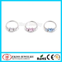 Wholesale Horizontal Princess Septum Clickers with Cubic CZ Nose Ring