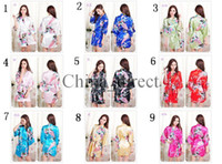 Wholesale Pajama Summer Women - 2017 summer Female Solid plain rayon silk short Robe Pajama Lingerie Nightdress Kimono Gown pjs Sexy Women Dress bathrobe 13 colors #3795