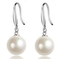 Wholesale Indian Luxury Pearls Jewelry - 925 sterling silver Cubic Zirconia drop earrings high quality single simple pearl luxury woman fashion jewelry