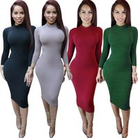 Wholesale Maxi Long Dress Chiffon Green - Women Winter Dress 2016 Sexy Club Party Dresses White Long Sleeve Solid Maxi Bodycon Bandage Dress Vestidos De Fest
