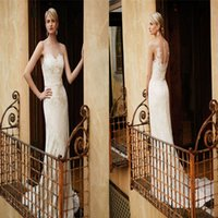 Wholesale Enzoani Beautiful - Beautiful Enzoani Lace Wedding Dresses Sheer Scoop Neckline Sleeveless Bridal Gowns With Sash Sweep Train Custom Made Column Wedding Dress