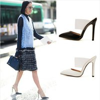 Wholesale Sexy Black Booties Shoes - New style Women sandals sexy pointed toe high-heeled pumps shoes summer slippers