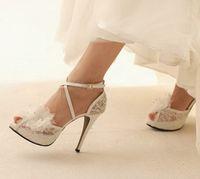 Wholesale Satin White Dress Sandals - Women Wedding Prom High Heels Cross-strap Custom-made Bride Dress Shoes Elegant White Lace Wedding Shoes 10cm Heels Free Shipping