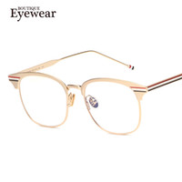 Wholesale high quality fashion optical frames - Wholesale- BOUTIQUE Fashion Women Square Designer metal Frame Optical Eye Glasses Men Eyeglasses High Quality H1684
