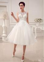Wholesale little miss princess dresses - 2017 Wedding Dresses Little White Dresses A-Line Wedding Dresses Tea-Length Applique Alencon Lace Simple High Quality A Line Square