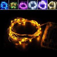 medidor de caixa de bateria venda por atacado-2 Metros de Prata Fio de 20 LEDs Micro Fada Luz Corda Com Bateria Box Set Para O Casamento Xmas Festa de Aniversário Decoração Frete Grátis