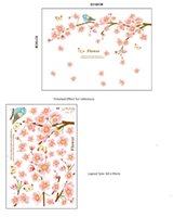 Wholesale Decals Girl Bird - Pink Flower Blossom Tree and Birds Butterflies Wall Decal Sticker Lovely Girl Kids Home Decoration Wall Art Murals Poster
