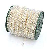 Wholesale Wedding Centerpieces Pearls - 1 Roll 25 Metres Faux Pearls Beads Chain Wedding Garland Spool Strand Party Table Centerpiece Curtain Bouquet Ornament wa072