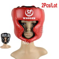 Wholesale Table Gear - Wholesale-2pcs Lot Wholesale New 2 Colors Headgear Head Guard Training Helmet Kick Boxing Protection Gear TK0783 TK0785 B_285
