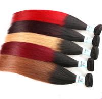 kırmızı düz insan saç uzantıları toptan satış-Brezilyalı Ombre Düz Remy İnsan Virgin Saç Örgüleri 1B / 27 1B / 30 1B / 99J 1B / Kırmızı Iki Ton Renk Saç Uzantıları