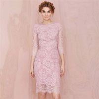 Wholesale satin slim bridesmaid dresses - Prom Dresses 2016 New Midriff Three Button Dress Slim Package Hip Dress Lace Temperament Red Carpet Dresses Evening Gowns Bridesmaid Dresses