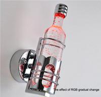 modern yeni led duvar lambası toptan satış-Yeni gelenler Renkli beyaz ve sıcak beyaz LED şişe kristal duvar lambası modern yaratıcı kısa şarap şişesi başucu LED duvar ışık