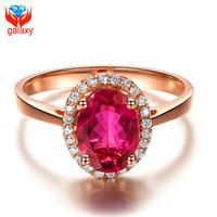 roter rosafarbener diamantring großhandel-Elegante Aristokrat Trendy 18 Karat Rose Gold Überzogene Schmuck Ring Hohe Qualität Roter Zirkonia Diamant Rubin Hochzeit Ringe für Frauen ZR025