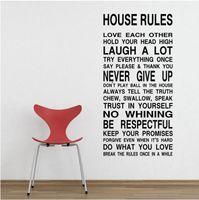 wall stickers quotes house rules 도매-무료 배송 하우스 규칙 규칙이 집에 벽 스티커 싸구려 Decal 비닐 벽 데칼