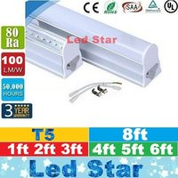 t5 leuchtet großhandel-T5 LED Röhren Licht Integrierte 1ft 2ft 3ft 4ft 5ft 6ft 8ft LED Leuchtstoffröhren Licht AC 110-240V