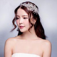 ingrosso tiaras della corona di perle faux-2019 vendita calda accessori per capelli tiara corona fascia principessa copricapo di nozze faux perle per il banchetto del partito