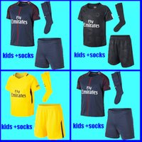 Wholesale Uniform Yellow - YOUTH Maillot de foot MBAPPE NEYMAR JR soccer jersey KIDS 2017 2018 DANI ALVES CAVANI SAINT Jersey 17 18 child kits socks uniform sets