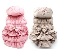 Wholesale Male Dress Design - Pet Dog warm Winter coat Jacket Bow dress design,Pet Puppy Hoody Clothes,5 sizes