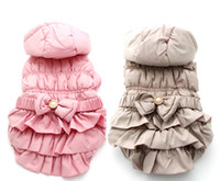 Wholesale dresses puppies for sale - Group buy Pet Dog warm Winter coat Jacket Bow dress design Pet Puppy Hoody Clothes sizes