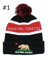 Wholesale California Beanies - Wholesale-Wholesale Fashion 2015 California Republic Beanie with Pom Hats Knit Caps Sports Winter Wholesale Free Shipping