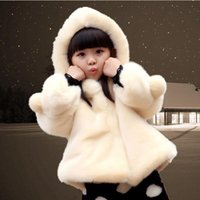Wholesale Girls Fur Coat Flower - best Gift 2016 New Winter Thickening Kids Faux Fur Coat Baby Girls Luxury Faux Fur Hooded Jacket Baby Plush Outerwear