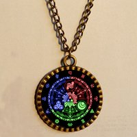 Wholesale Zelda Glass - Wholesale Lot Legend Of Zelda Triforce Necklace 12 Constellation Star Merchandise Pendant Celtic Chain Jewelry Vintage new 2016
