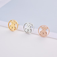 Wholesale circle shaped earrings - Hot selling High Quality No Fade Stainless steel cute Animal panda style round circle shape stud women earring El oso pendiente