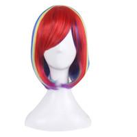 perruque mélange bleu violet achat en gros de-Cosplay perruque courte animation Bob perruques de cheveux perruque côté Bang pour rouge bleu violet femmes colorées perruque synthétique