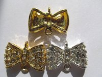 Batch bow papillon spacer 15x25mm 24pcs, métal cristal argent or mixte spacer perles anneau