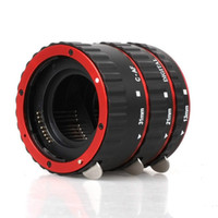 Wholesale Extension Lens - Red Metal Mount Auto Focus AF Macro Extension Tube Ring for Kenko Canon EF-S Lens T5i T4i T3i T2i 100D 60D 70D 550D 600D 6D 7D